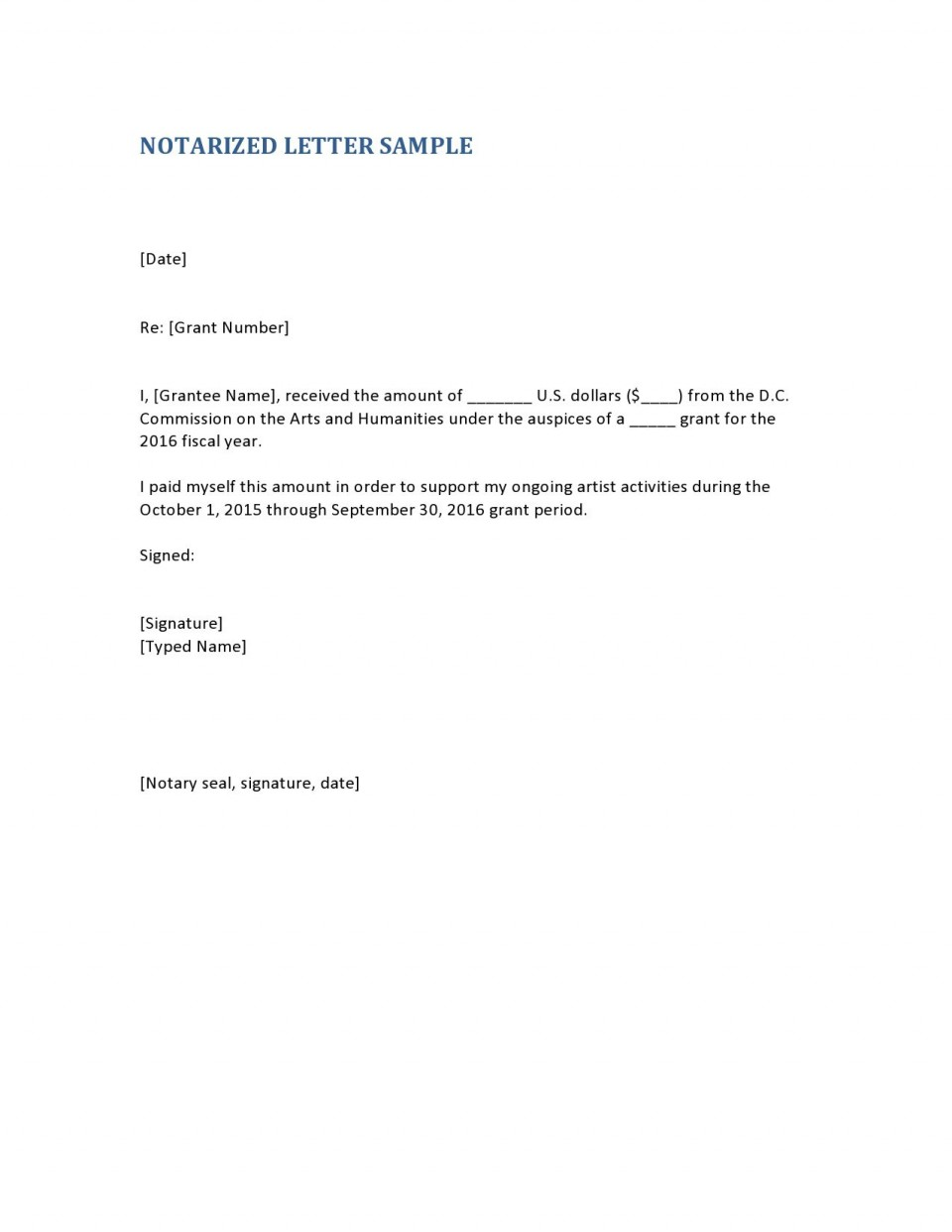 004 Unusual Notarized Letter Template Word Concept  Microsoft960