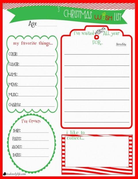 004 Unusual Printable Wish List Template Photo  Santa Free Secret480