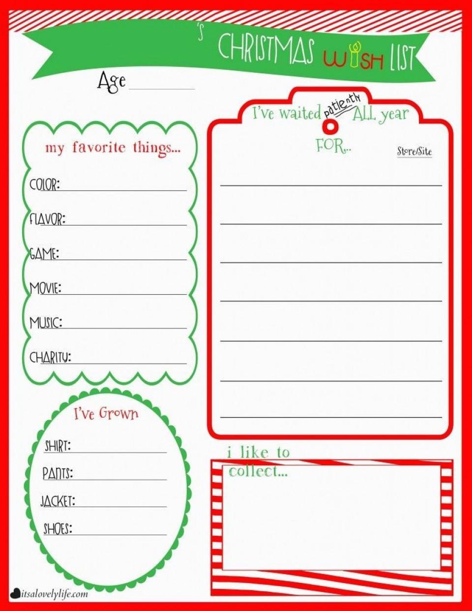 004 Unusual Printable Wish List Template Photo  Santa Free Secret960