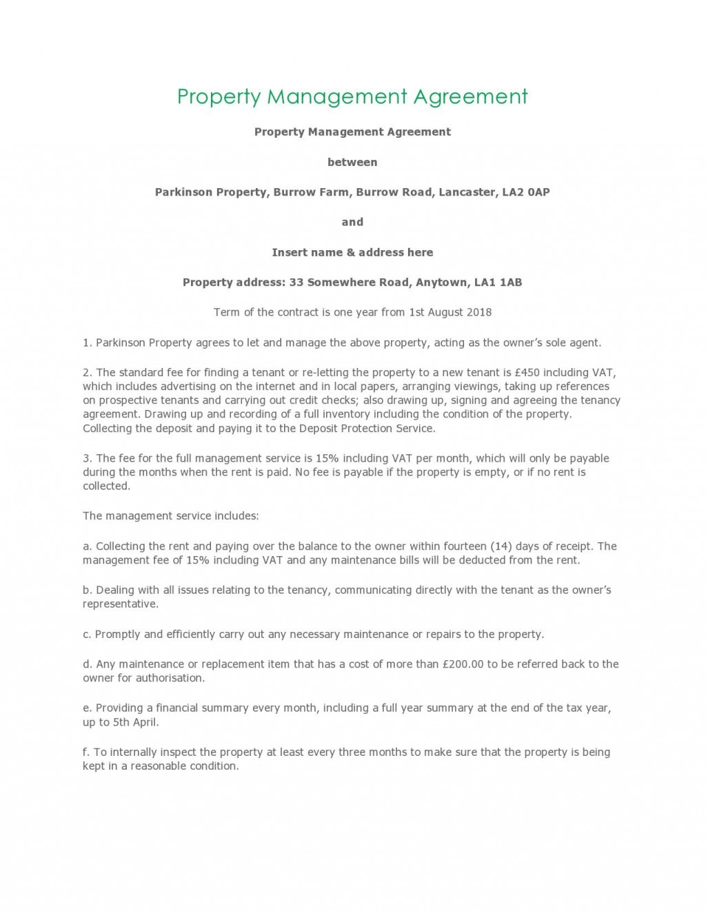 004 Unusual Property Management Contract Template Free High Resolution  UkLarge