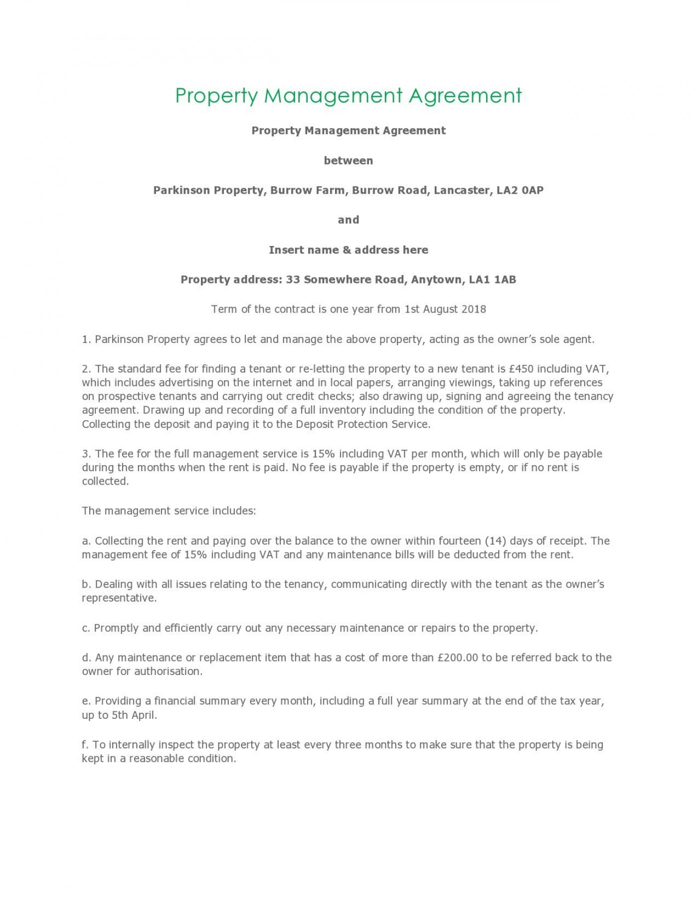 004 Unusual Property Management Contract Template Free High Resolution  Uk1400