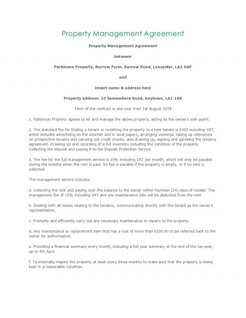 004 Unusual Property Management Contract Template Free High Resolution  Uk480