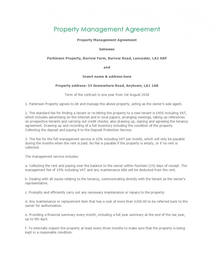 004 Unusual Property Management Contract Template Free High Resolution  Uk728