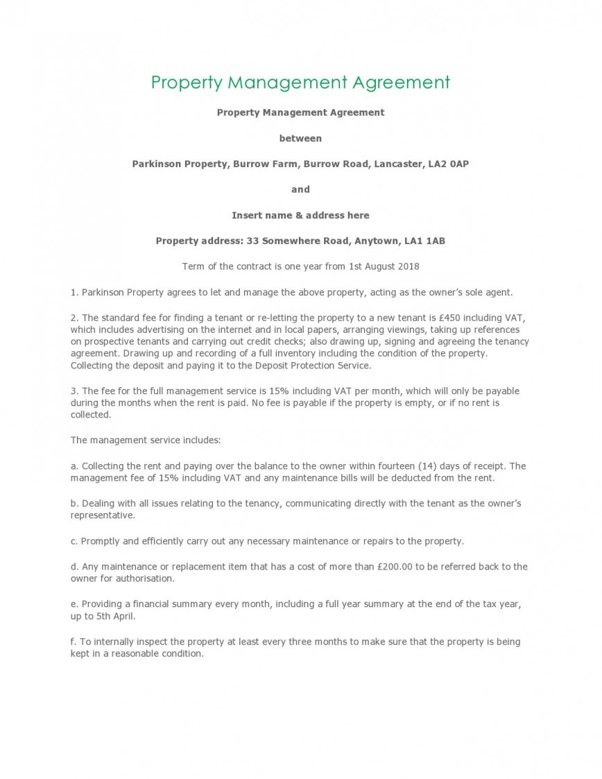 004 Unusual Property Management Contract Template Free High Resolution  Uk868