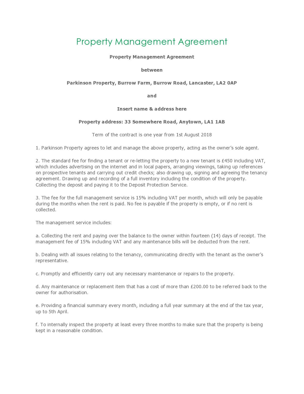 004 Unusual Property Management Contract Template Free High Resolution  UkFull