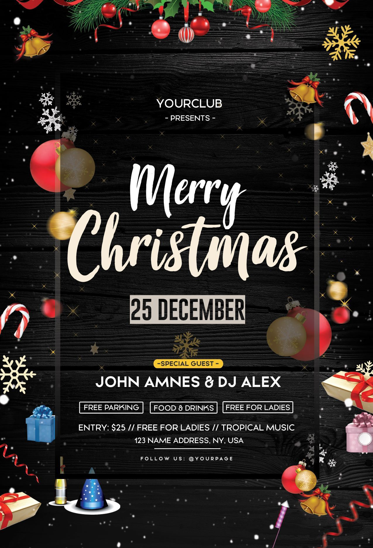 004 Wonderful Christma Flyer Template Free High Def  Party Invitation Psd DownloadFull