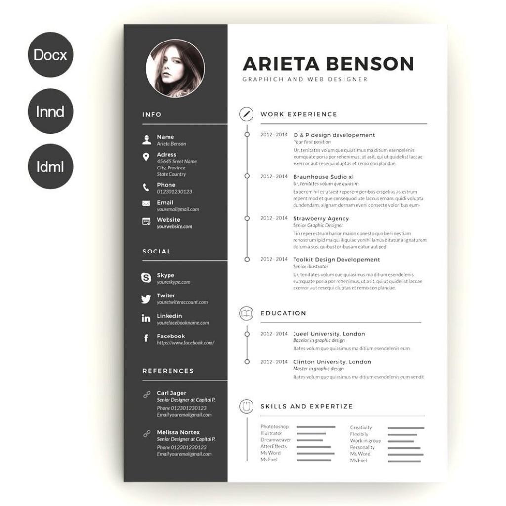 004 Wonderful Creative Resume Template Word Example  Professional Free Download EditableLarge
