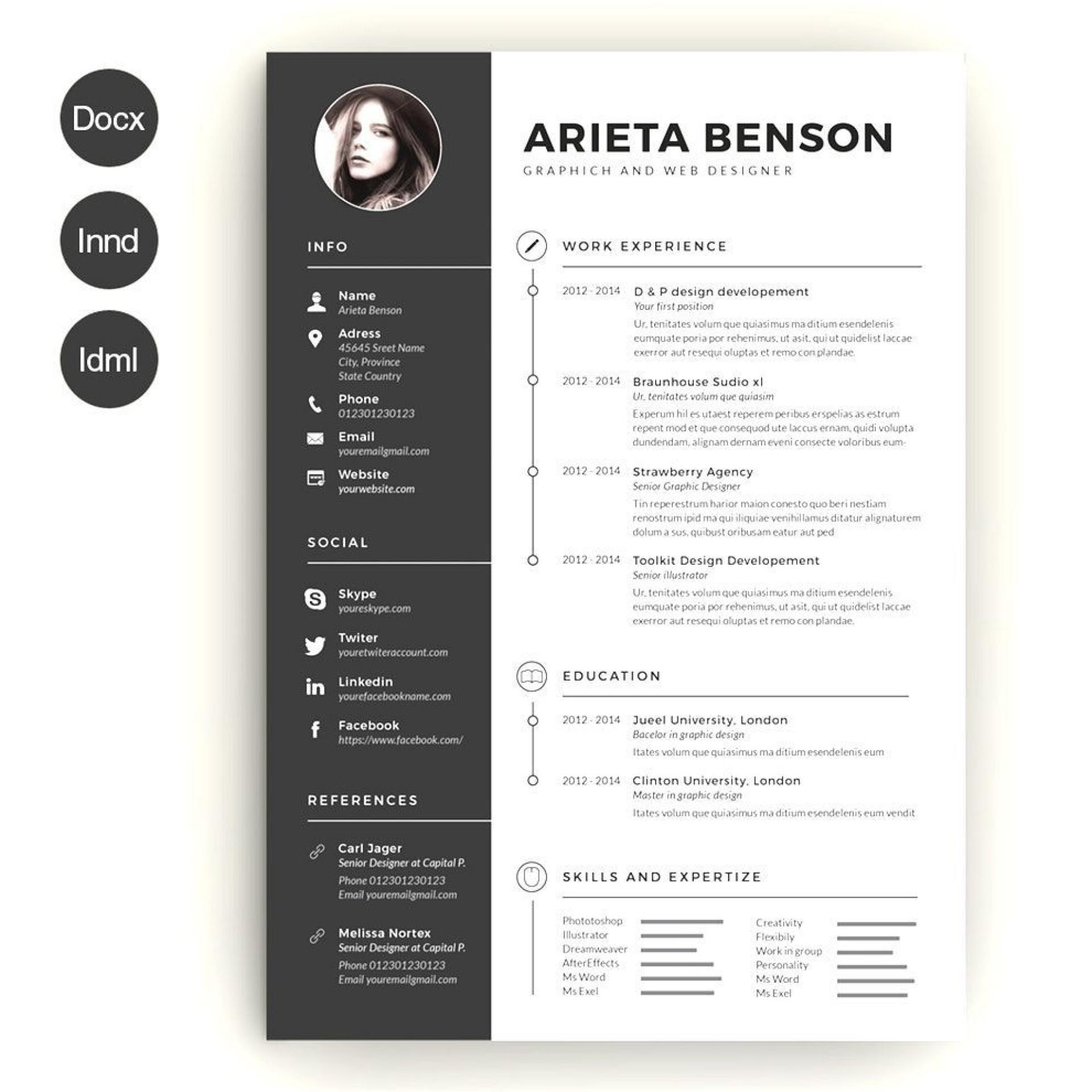 004 Wonderful Creative Resume Template Word Example  Professional Free Download Editable1920