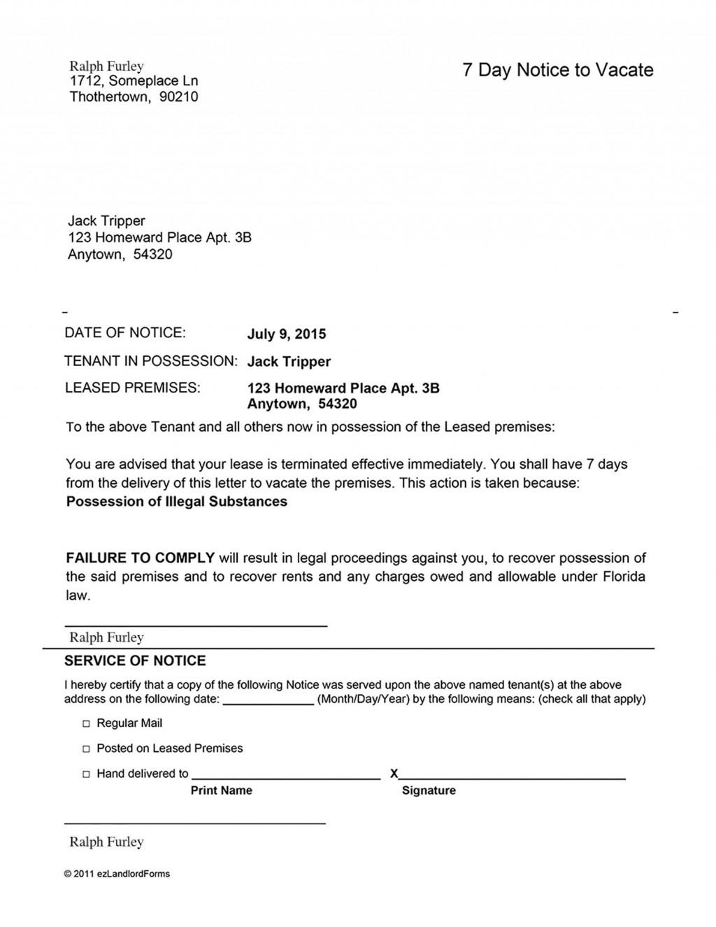 004 Wonderful Eviction Notice Florida Template Highest Quality  15 Day Free PrintableLarge