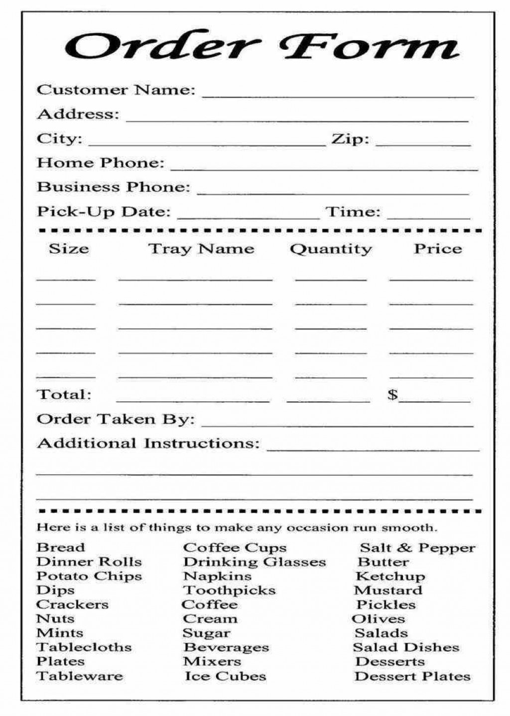 004 Wonderful Food Order Form Template Word Design Large