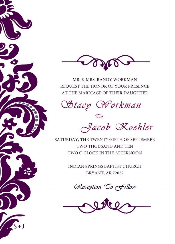 004 Wonderful Formal Wedding Invitation Template High Definition  Templates Email Format Wording FreeLarge