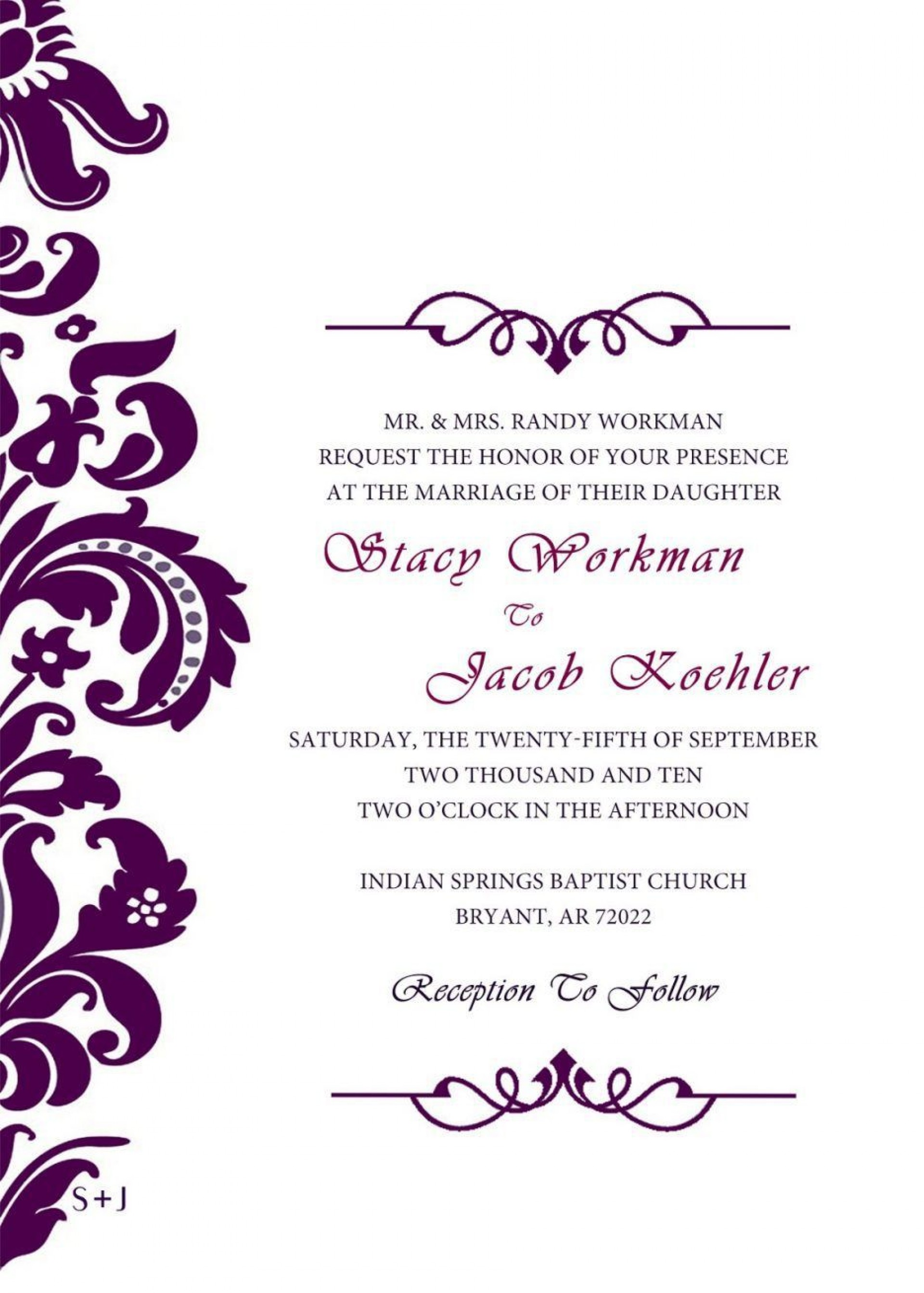 004 Wonderful Formal Wedding Invitation Template High Definition  Templates Email Format Wording Free1920