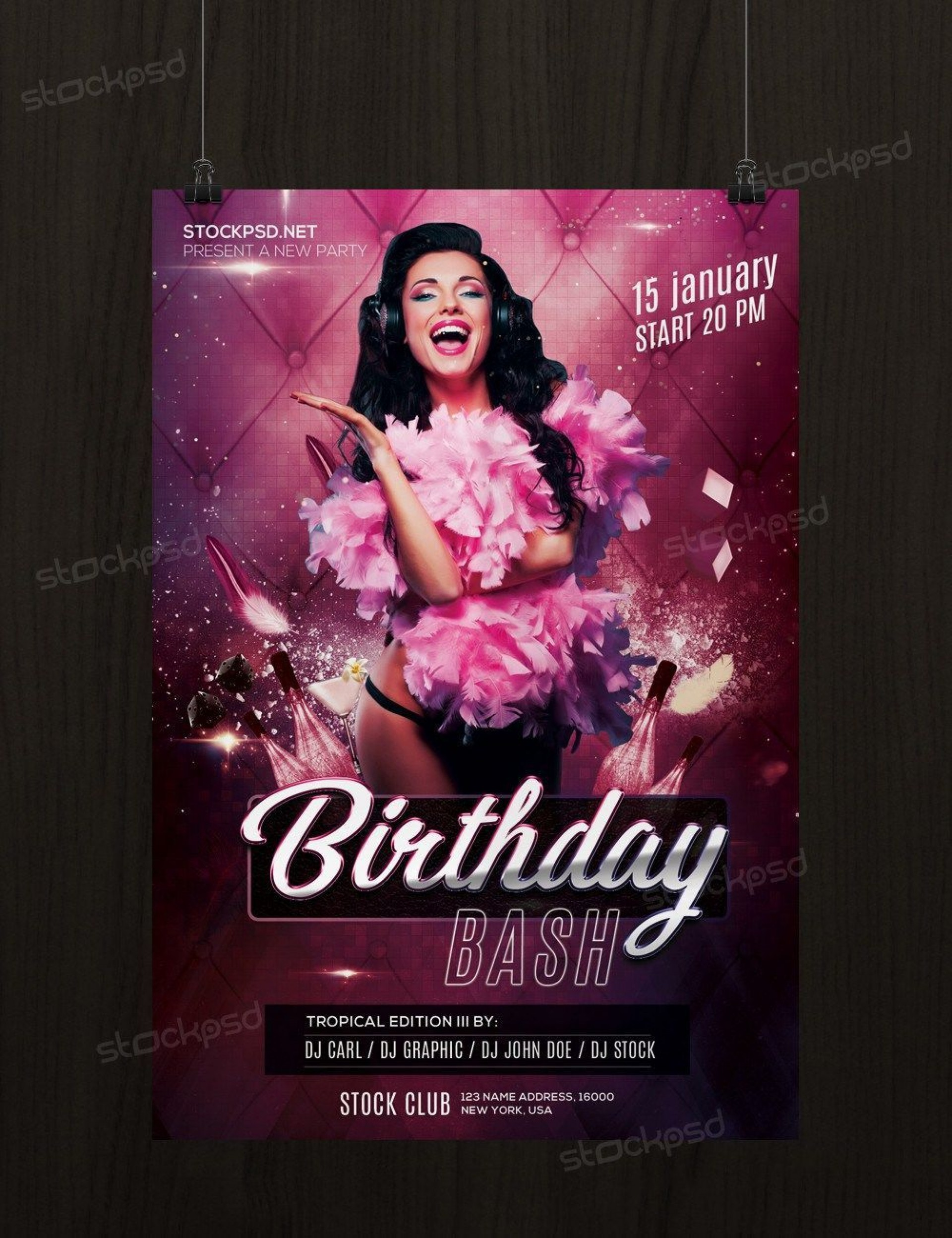 004 Wonderful Free Birthday Flyer Template Psd High Definition  Foam Party - Neon Glow Download Pool1920