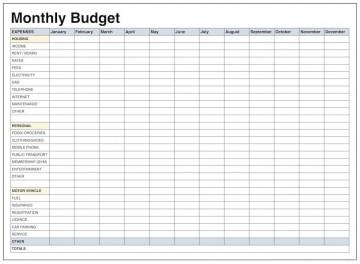 004 Wonderful Free Blank Monthly Budget Sheet High Resolution  Printable Worksheet360