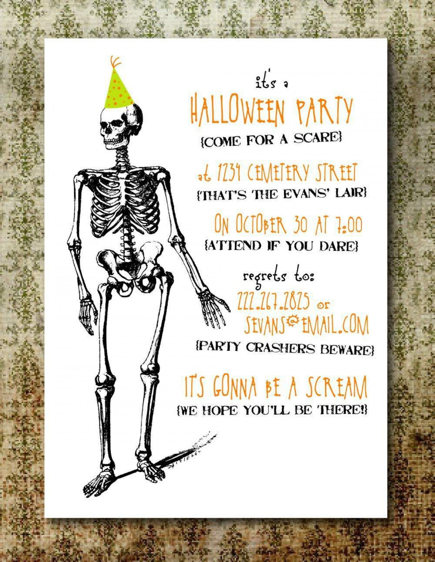 004 Wonderful Free Halloween Invitation Template Printable Highest Clarity  Birthday Party1400