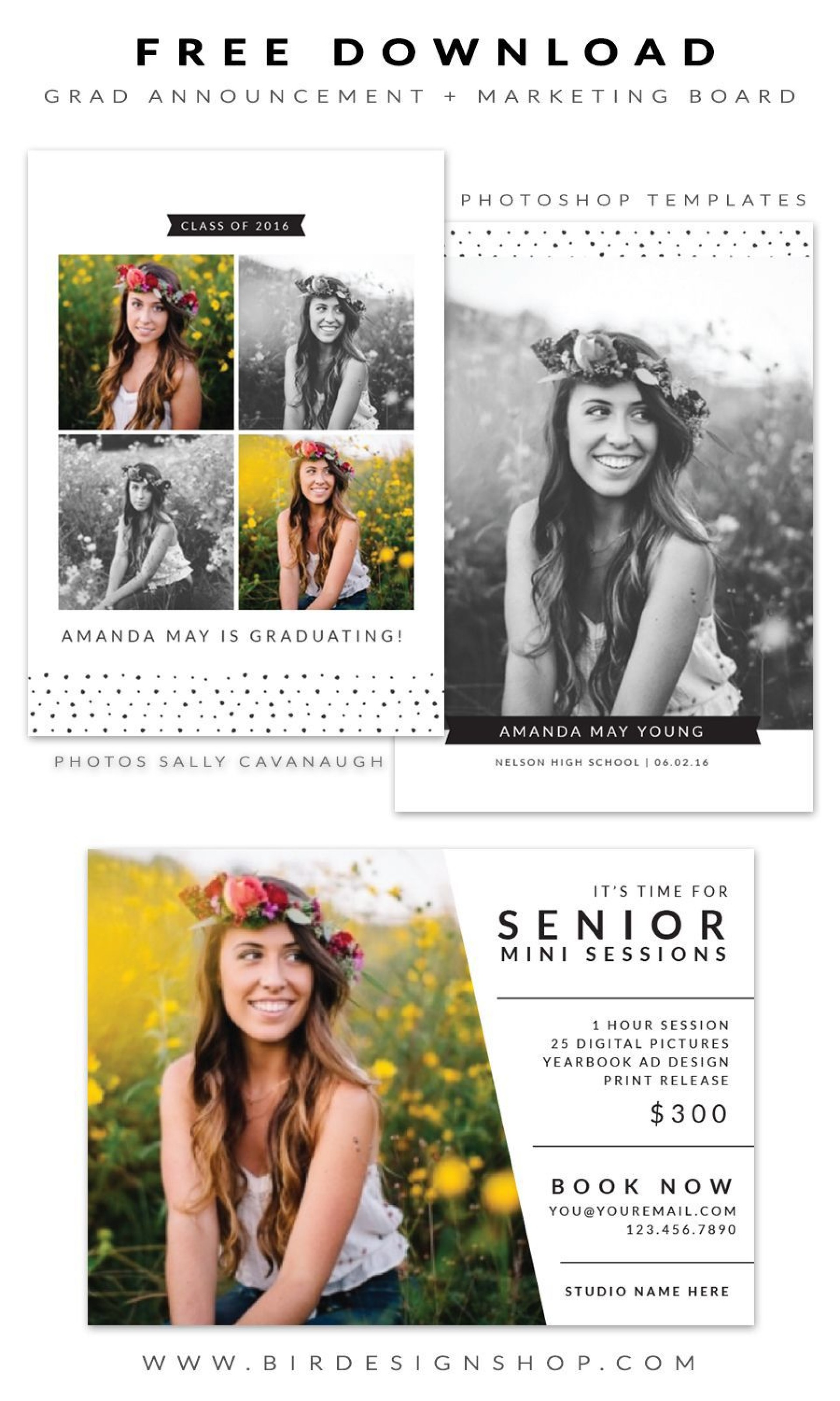 004 Wonderful Free Senior Template For Photoshop Idea  Collage1920