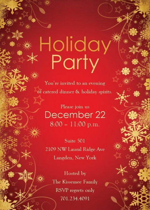 004 Wonderful Holiday Party Invitation Template Free Example  Elegant Christma Download Dinner Printable Australia480