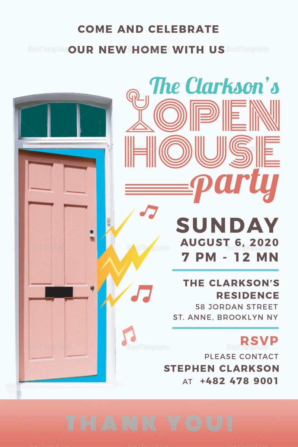 004 Wonderful Open House Invite Template Design  Templates Party InvitationLarge