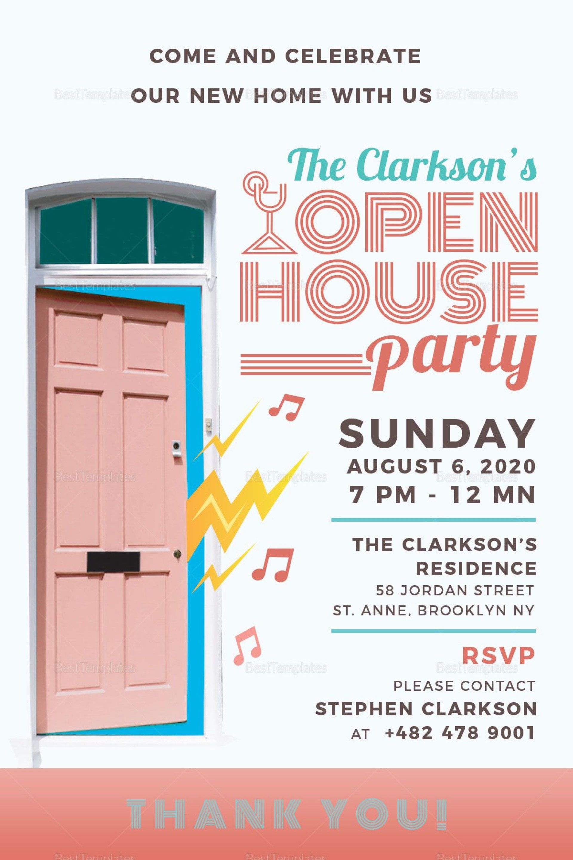 004 Wonderful Open House Invite Template Design  Templates Party InvitationFull