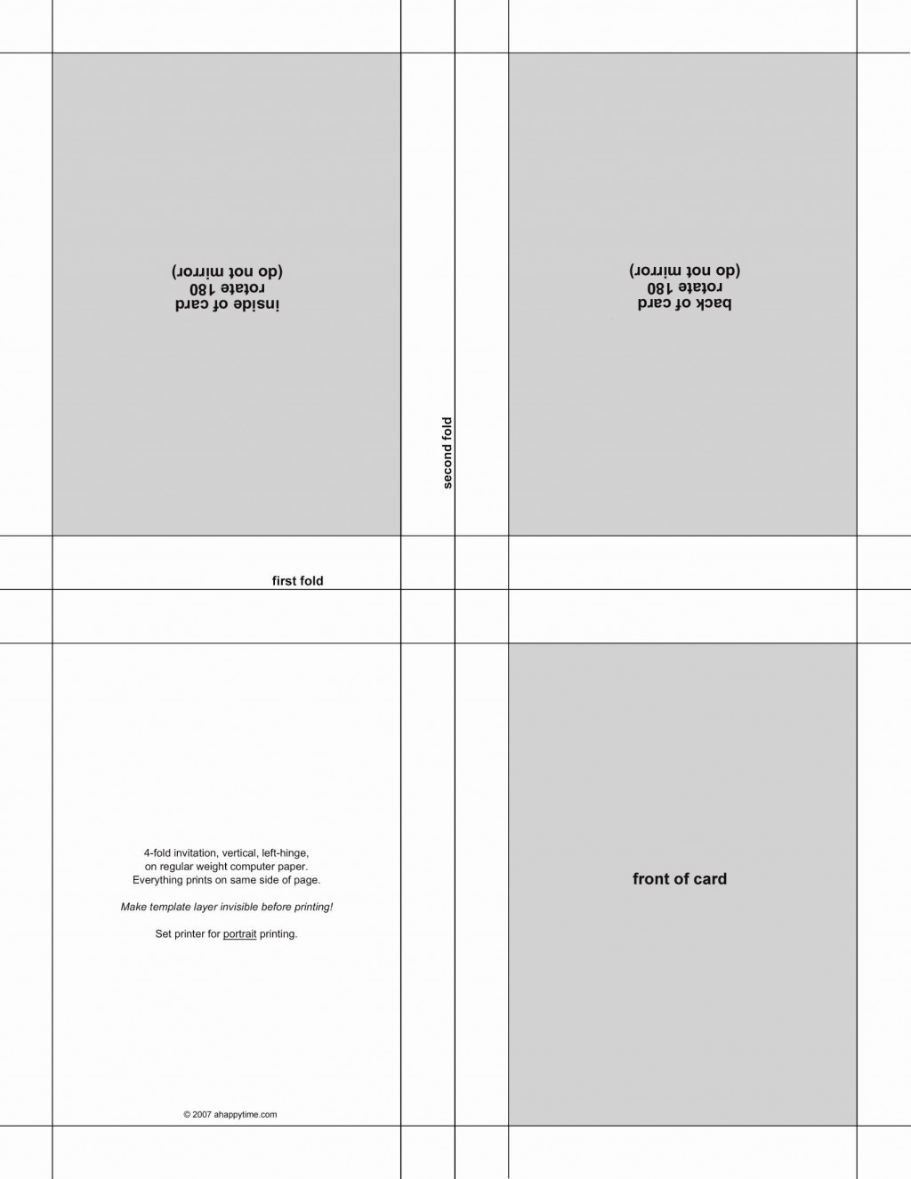 004 Wonderful Quarter Fold Card Template Publisher Design Large