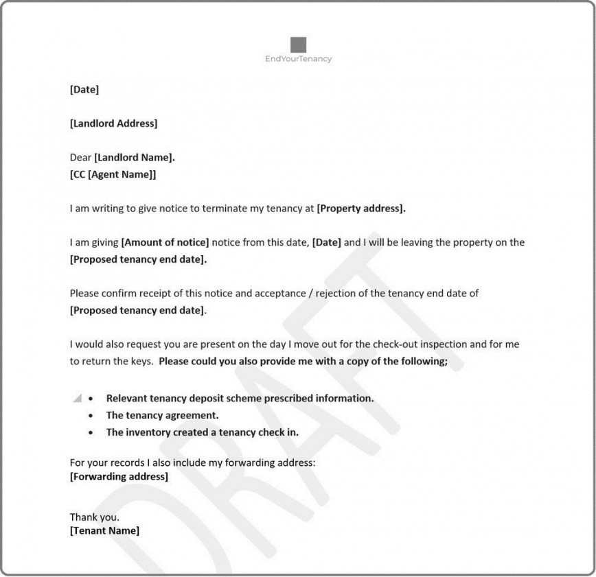 004 Wonderful Sample Letter For Terminating A Lease Agreement Photo  To Terminate From Landlord Commercial End Tenancy