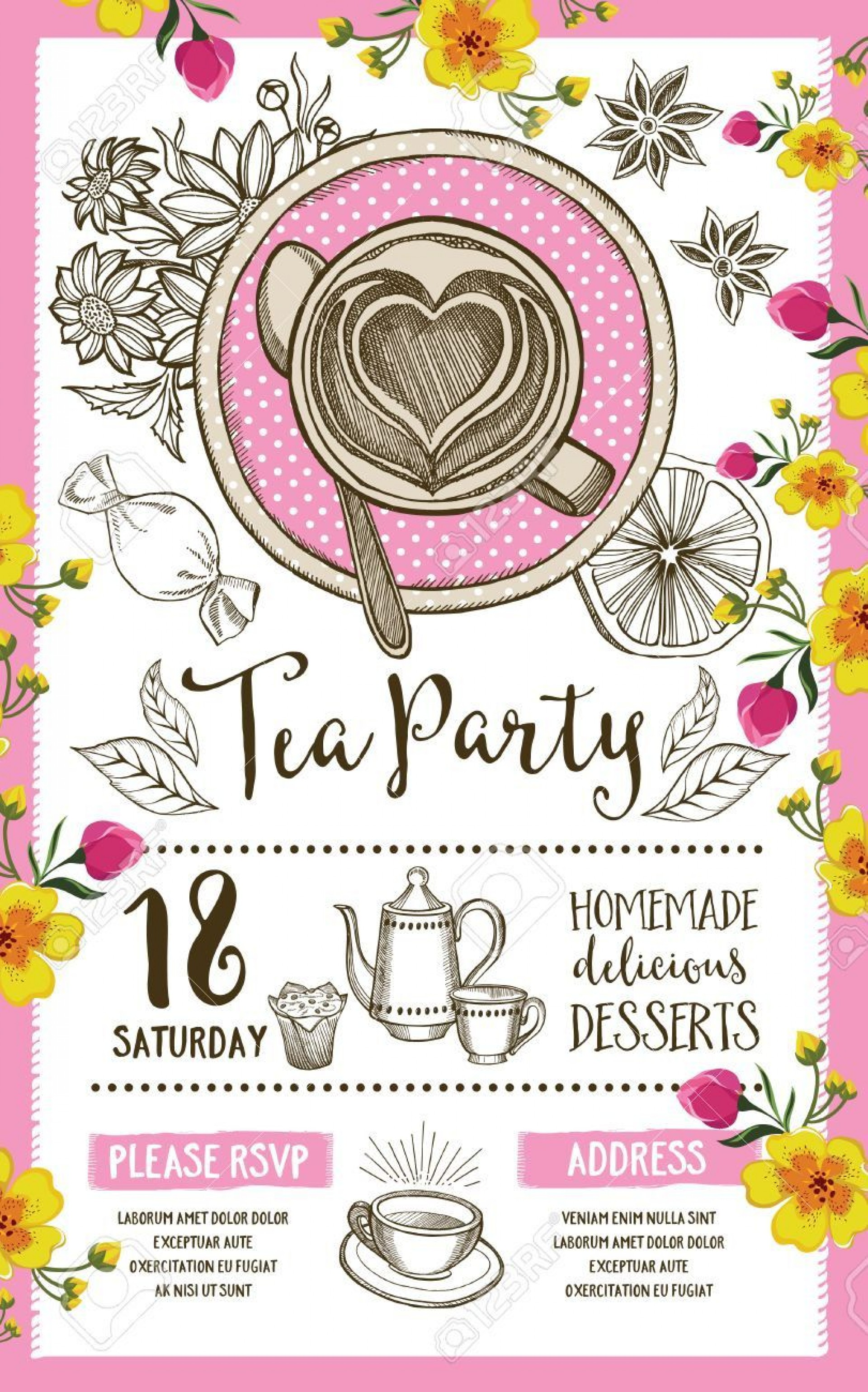 004 Wonderful Tea Party Invitation Template Inspiration  Wording Vintage Free Sample1920