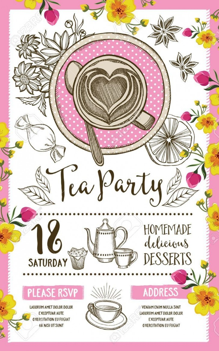 004 Wonderful Tea Party Invitation Template Inspiration  Card Victorian Wording For Bridal Shower728