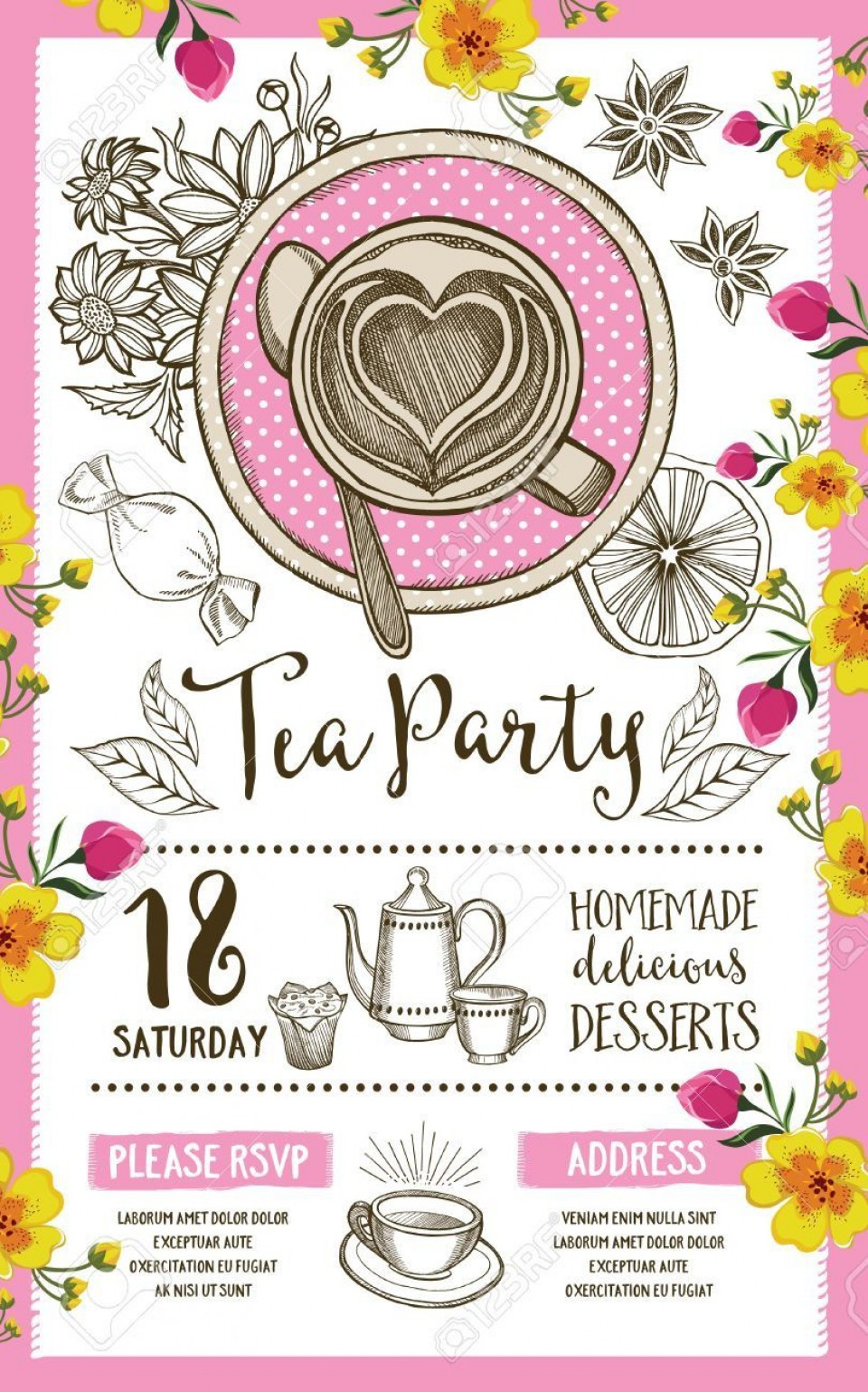 004 Wonderful Tea Party Invitation Template Inspiration  Wording Vintage Free Sample960