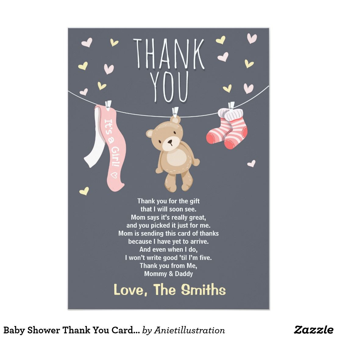 004 Wonderful Thank You Note Wording Baby Shower Concept  For Hosting CardFull