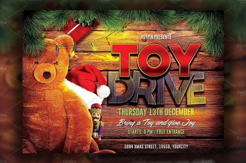 004 Wonderful Toy Drive Flyer Template Free Idea  Download Christma480