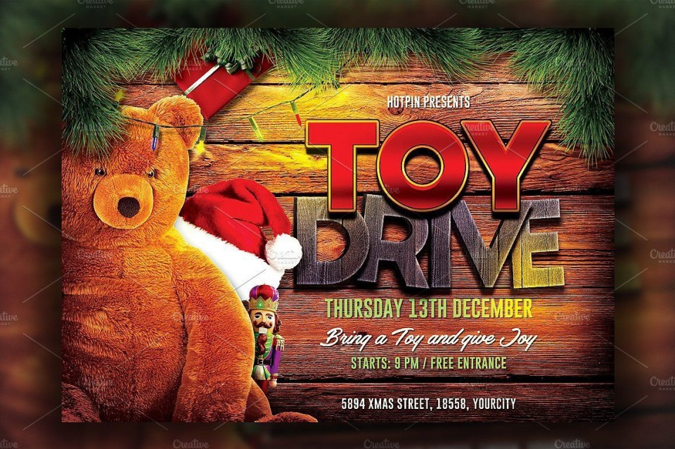 004 Wonderful Toy Drive Flyer Template Free Idea  Download Christma960