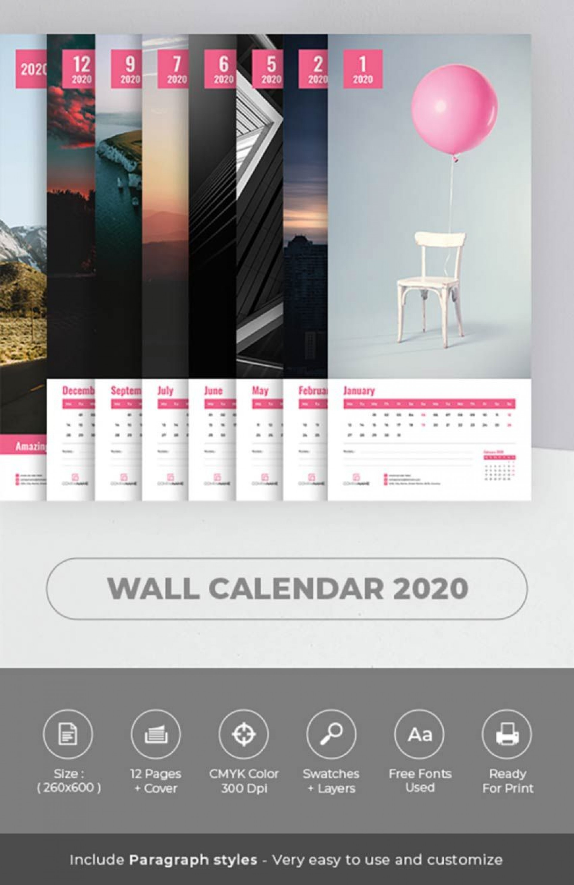 004 Wondrou 2020 Calendar Template Indesign Highest Quality  Adobe Free1920