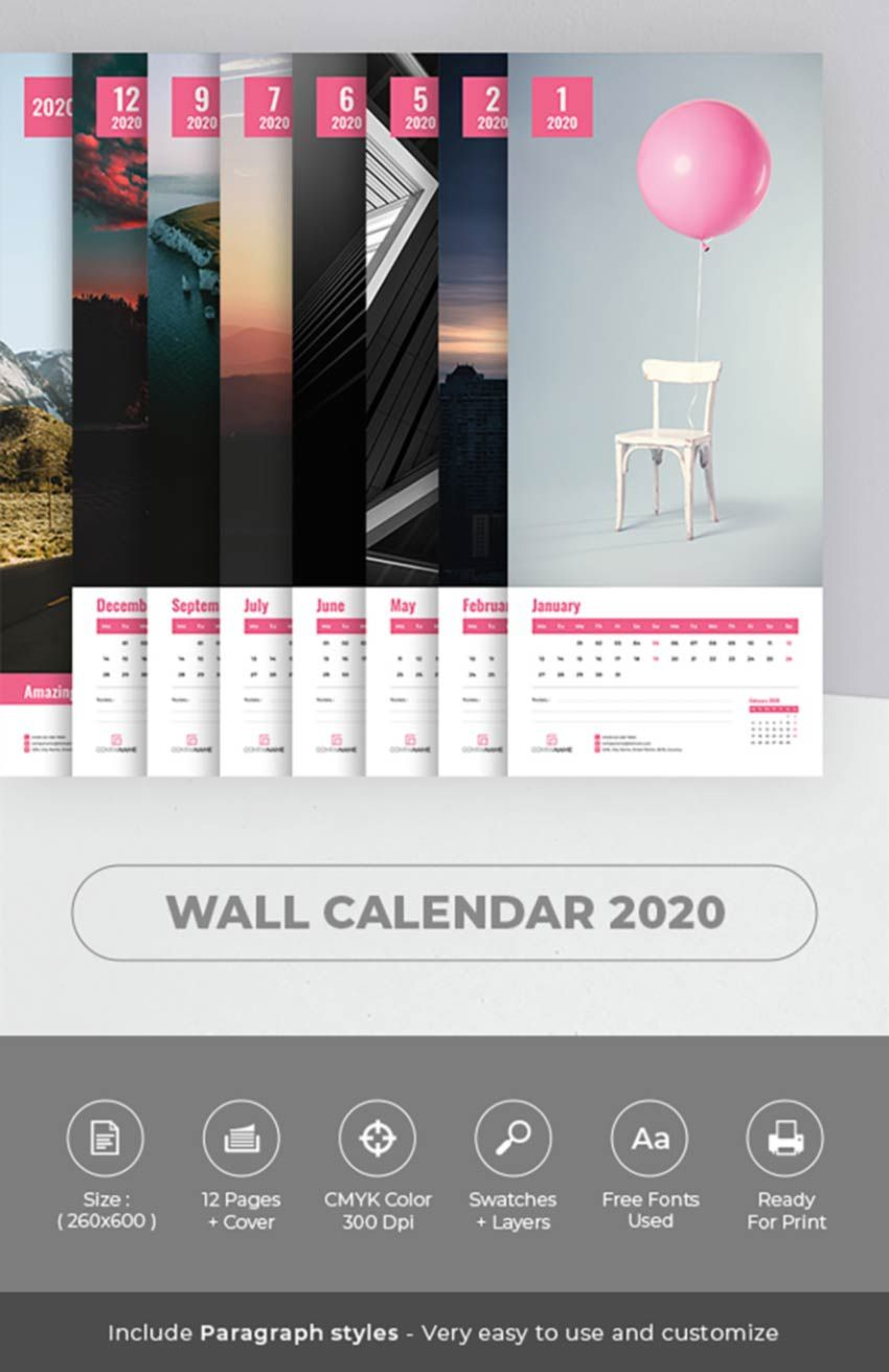 004 Wondrou 2020 Calendar Template Indesign Highest Quality  Adobe FreeFull