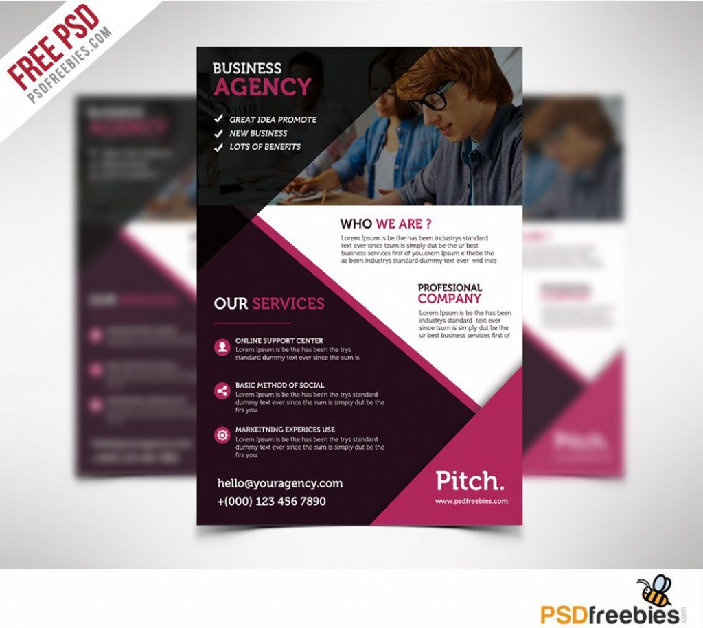 004 Wondrou Busines Flyer Template Psd Free Download Concept Large
