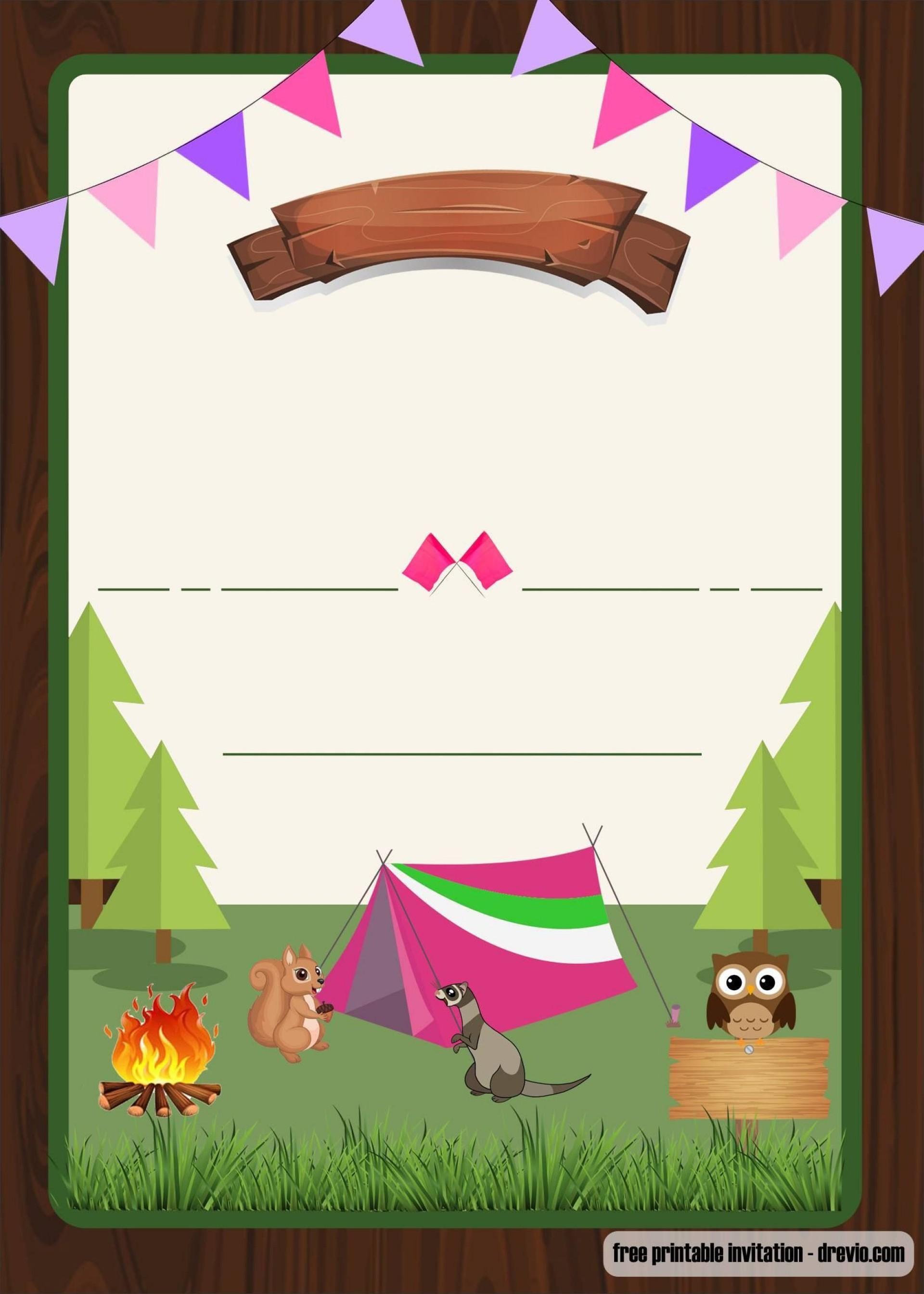 004 Wondrou Camping Invitation Template Free Example  Party Birthday1920