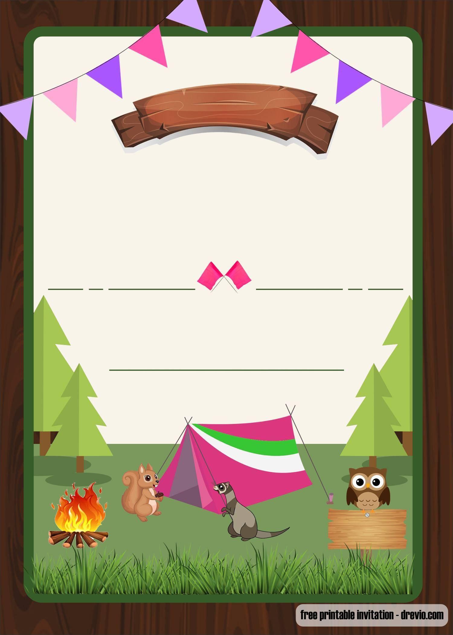 004 Wondrou Camping Invitation Template Free Example  Party BirthdayFull