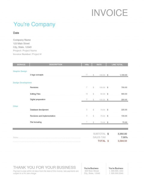 004 Wondrou Freelance Graphic Design Invoice Example Highest Quality  Contract Template Sample480