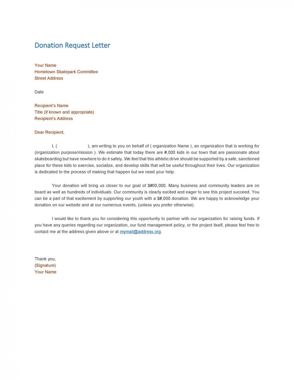 004 Wondrou In Kind Donation Letter Template Idea  Request Acknowledgement Receipt960