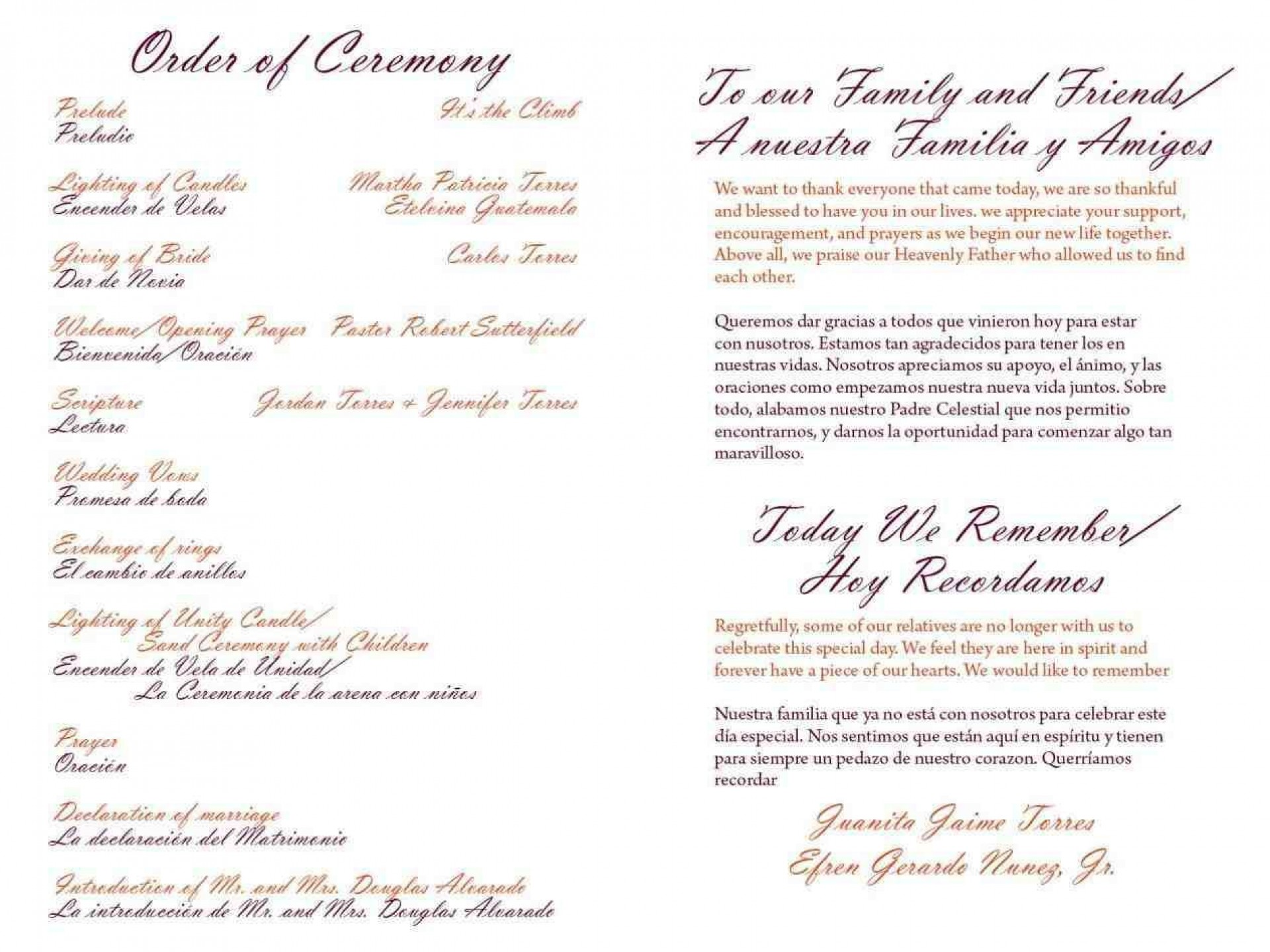 004 Wondrou One Page Wedding Program Template Example  Ceremony Free1920