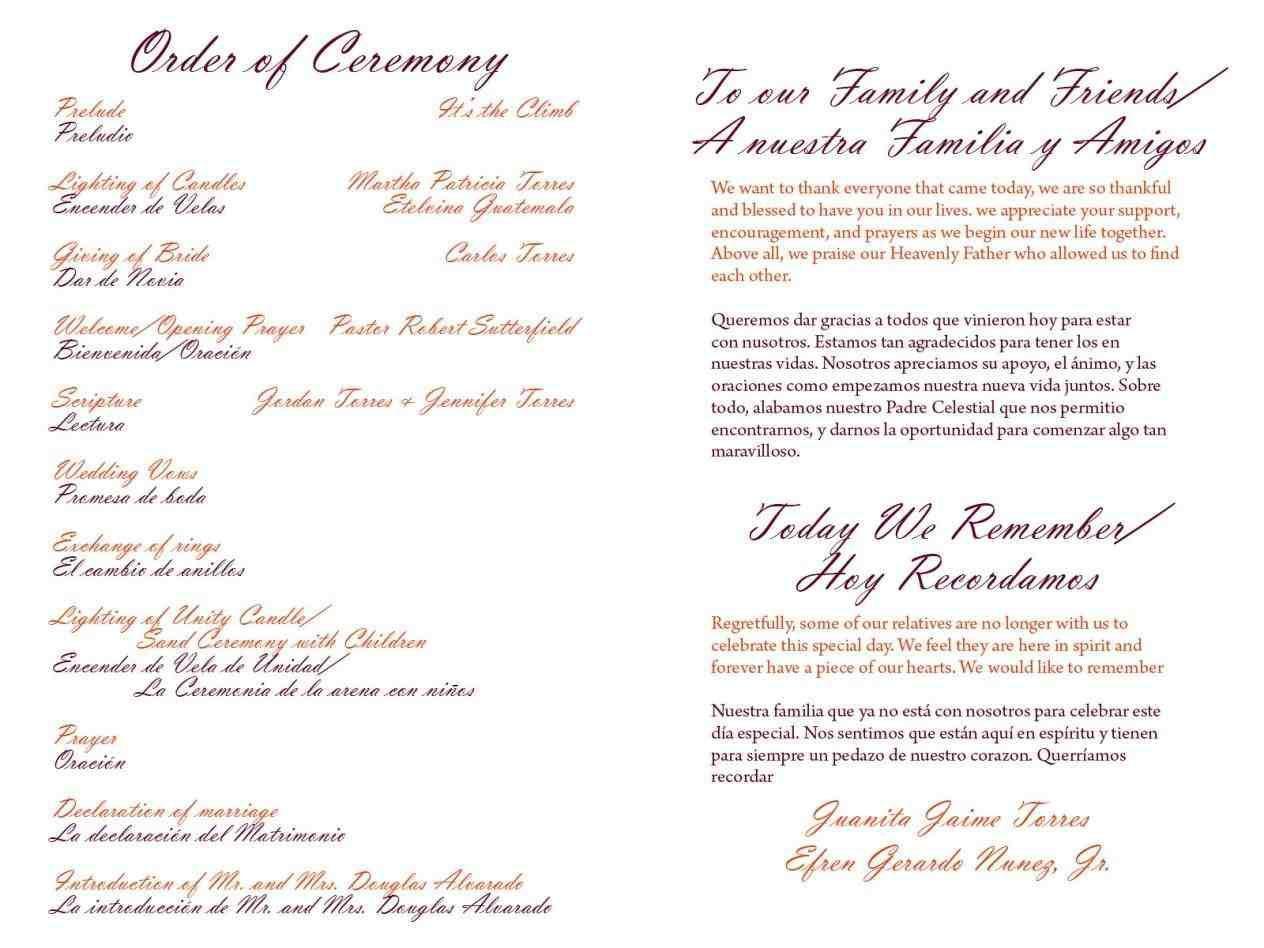 004 Wondrou One Page Wedding Program Template Example  Ceremony FreeFull