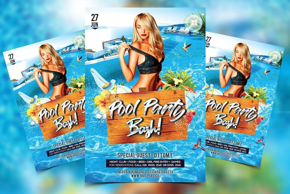 004 Wondrou Pool Party Flyer Template Free Inspiration  Photoshop PsdFull