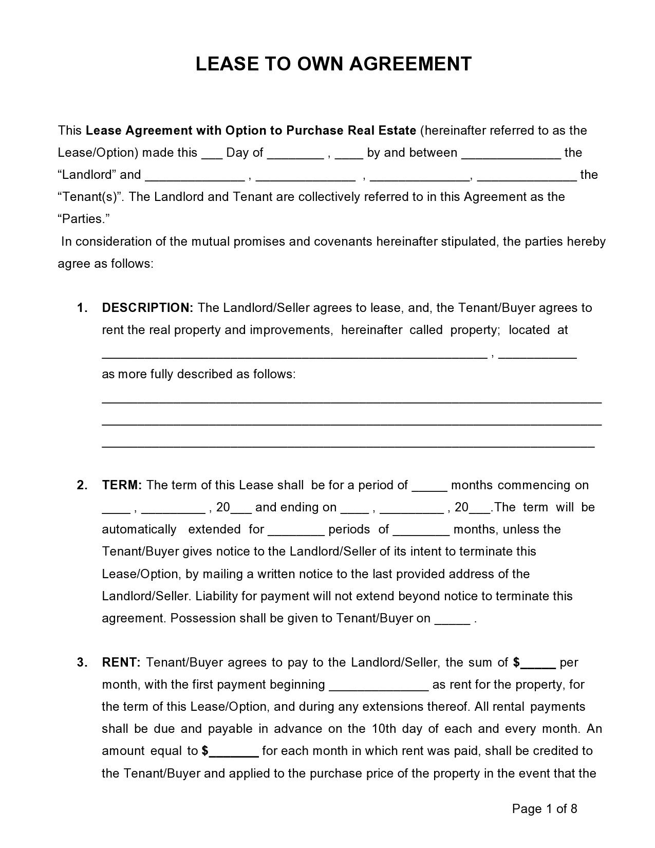 004 Wondrou Rent To Own Contract Form Free Example  For House PdfFull