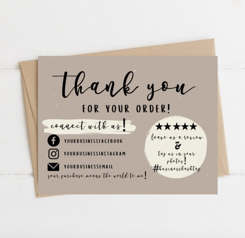 004 Wondrou Thank You Card Template Sample  Wedding Busines Word Free480