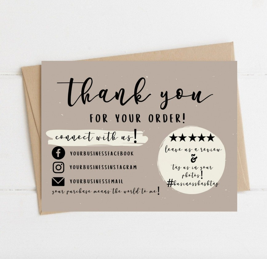 004 Wondrou Thank You Card Template Sample  Wedding Busines Word Free868