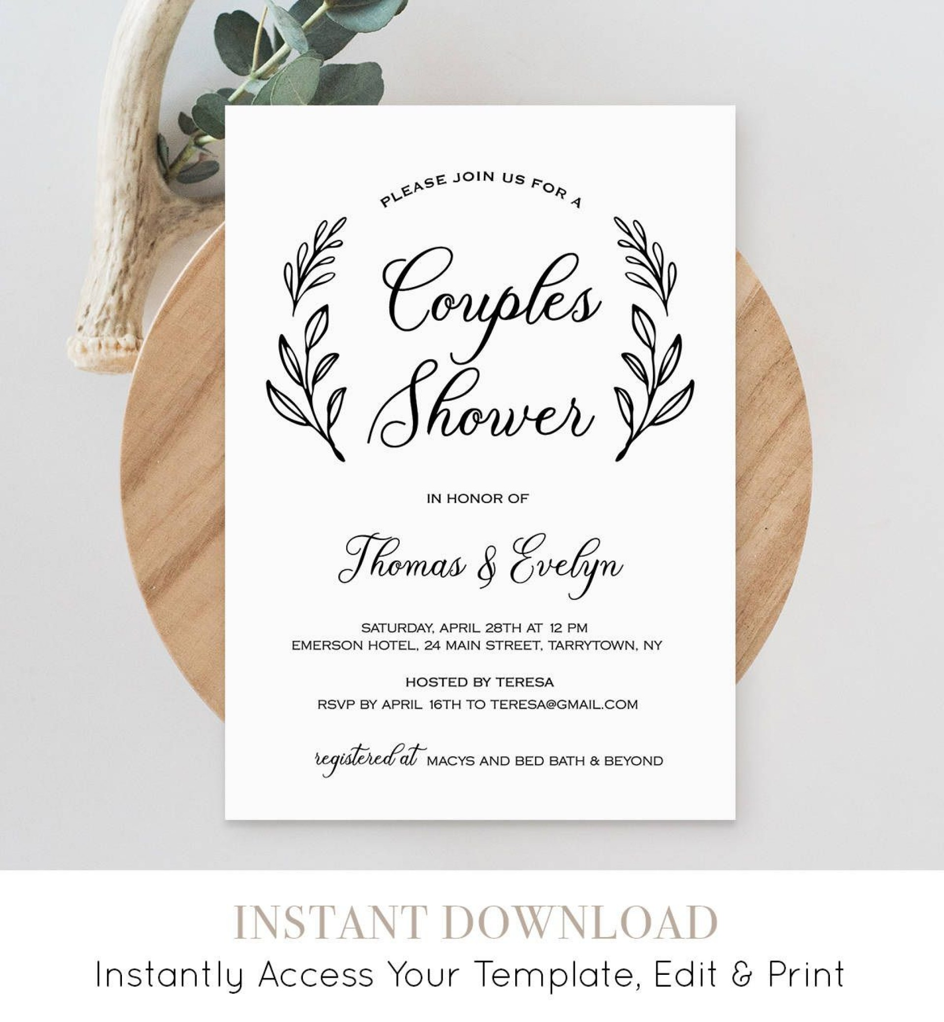 005 Amazing Free Couple Shower Invitation Template Download Picture 1920