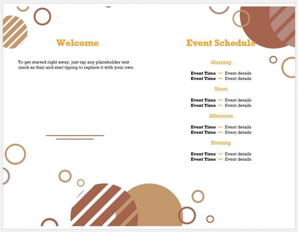 005 Amazing Free Event Program Template Concept  Templates Half Fold Online DownloadLarge