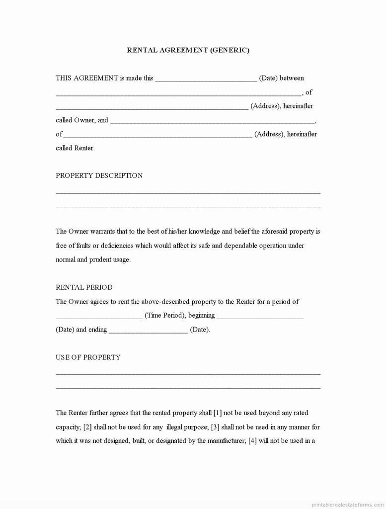005 Amazing Generic Rental Lease Agreement Concept  Sample Ohio Md IllinoiFull