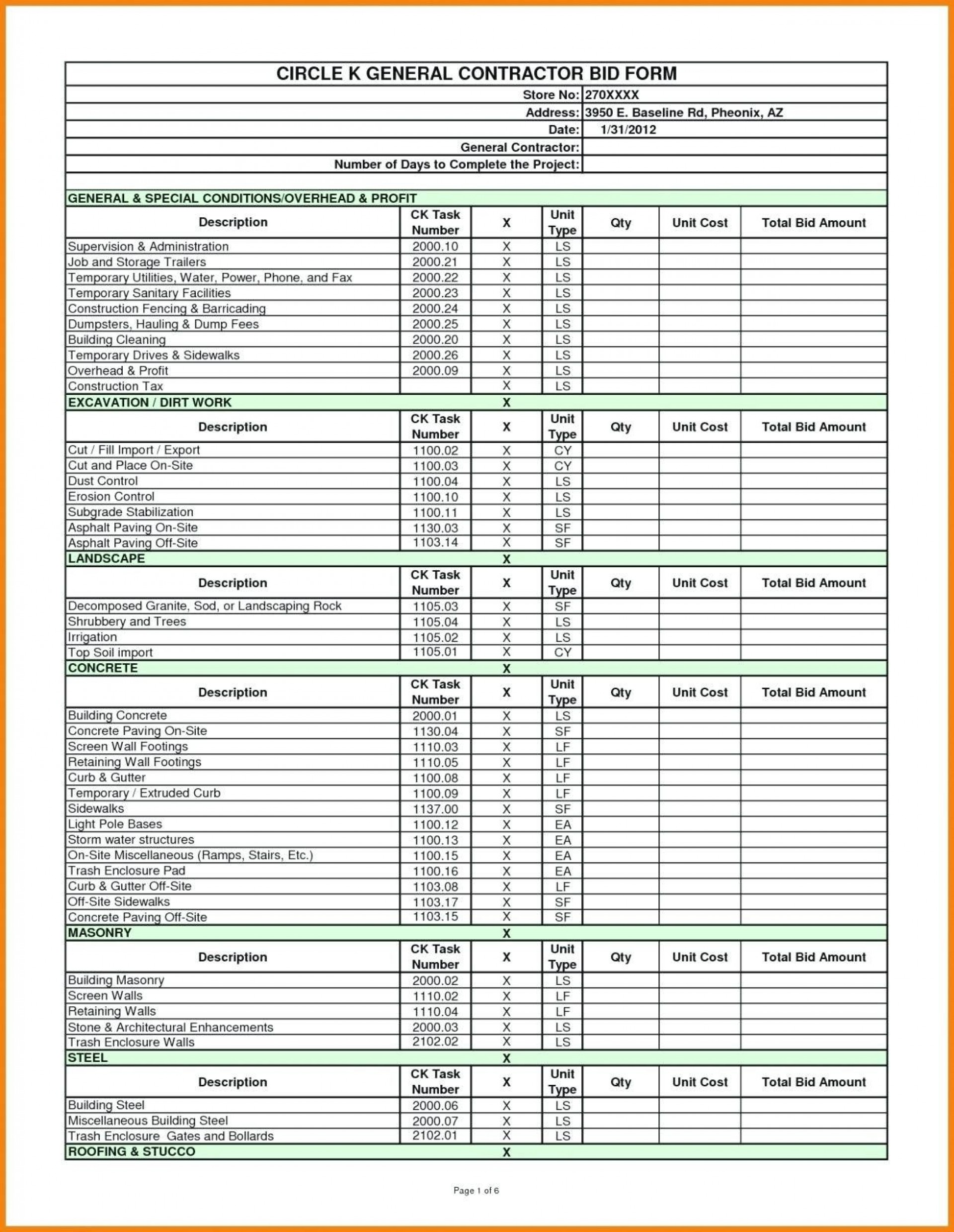 005 Amazing Lawn Care Bid Sheet Template Example  Excel1920