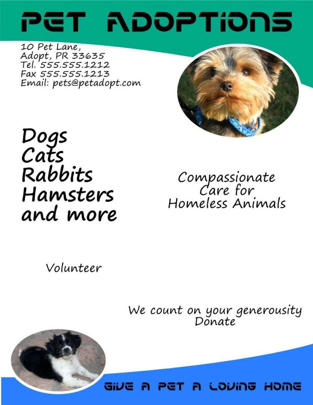 005 Amazing Pet Adoption Flyer Template High Resolution  Free Event DogLarge