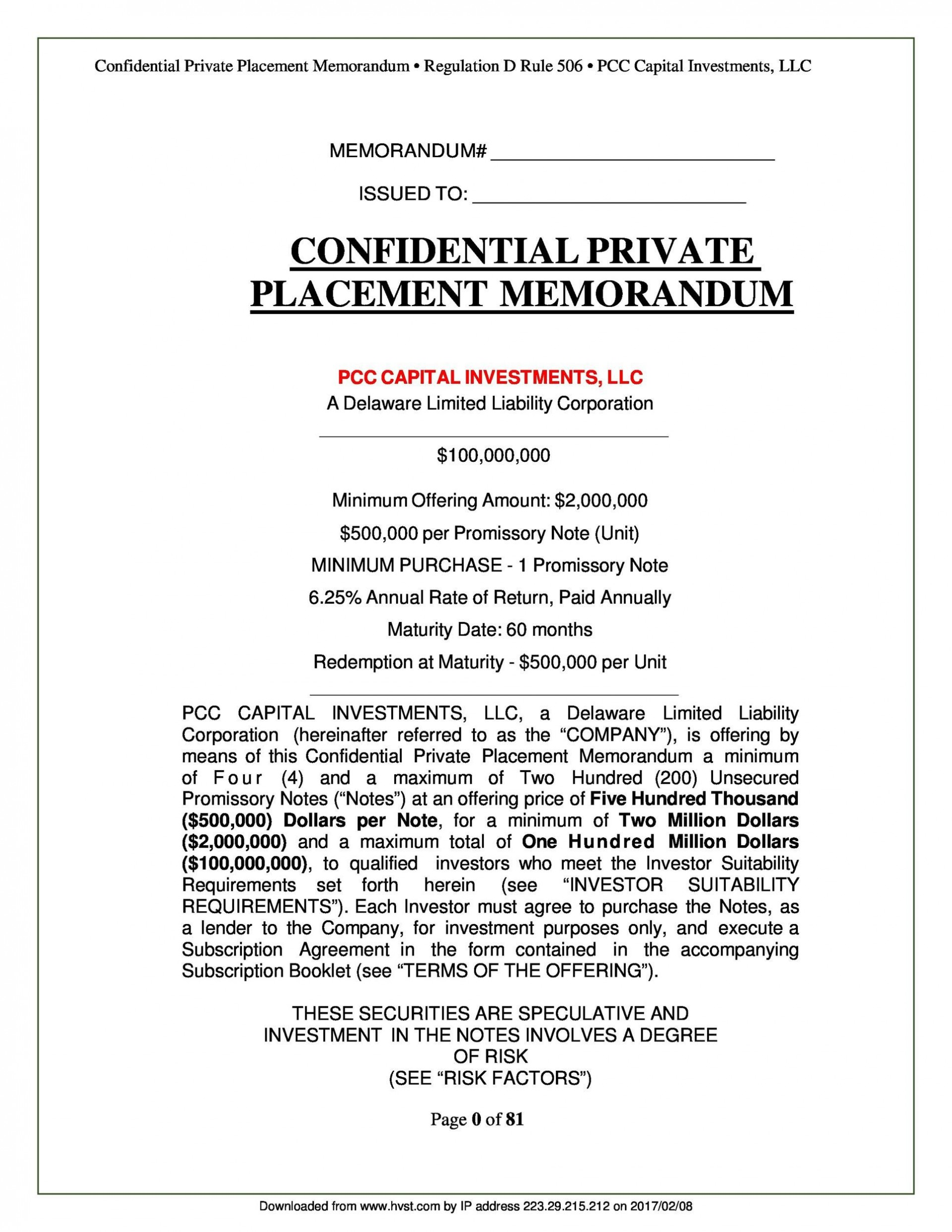 005 Amazing Private Placement Memorandum Template Concept  Real Estate Singapore1920